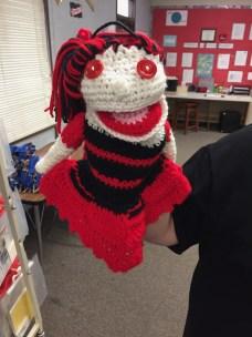 crochet girl hand puppet