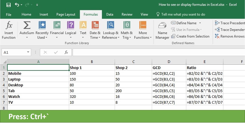 Quick Way To Display Formulas In Excel