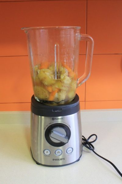 triturar la crema de verduras
