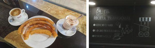 churros con cola cao y café