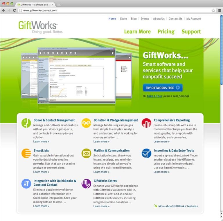 GiftWorks screenshot of homepage