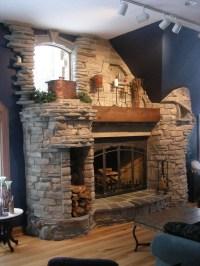 6-foot Rumford fireplace. Natural stone.   Yoder Masonry, Inc.