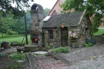 Garden Shed with Outdoor Fireplace