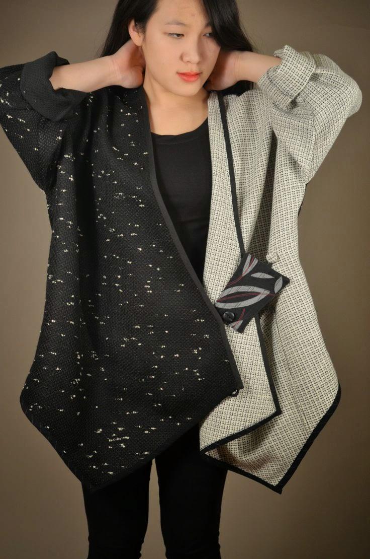 Patrón gratis de un abrigo color block con un rectángulo de tela
