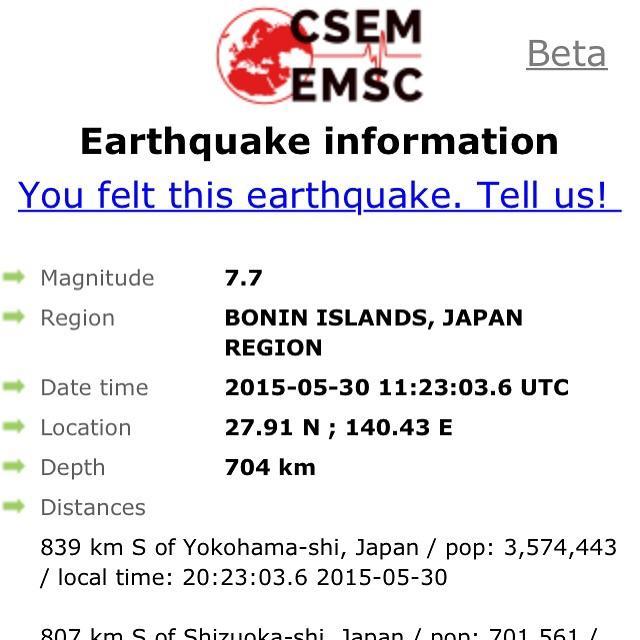 Terremoto en Tokyo 30 de mayo de 2015