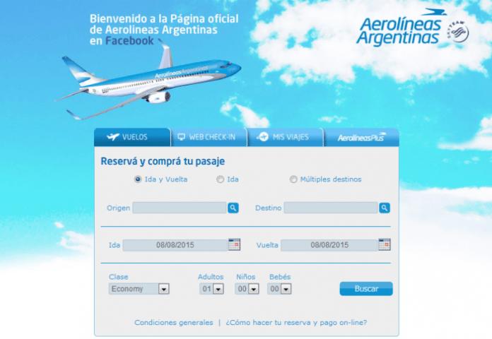 aerolineas argentinas compra en facebook