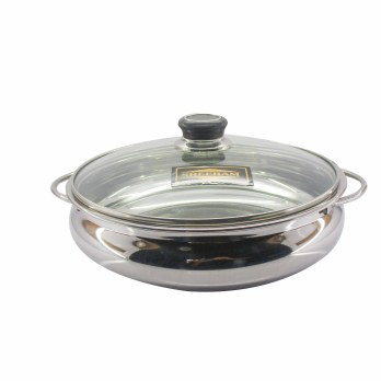 Sreeram Stainless Steel Kerala Uruli Size 4- with Glass lid (24CM),3500ML