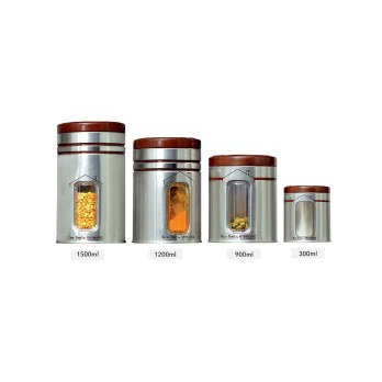 Innopac Home Line Steel Jar Set, Multiple Size (Silver)- 4 Piece