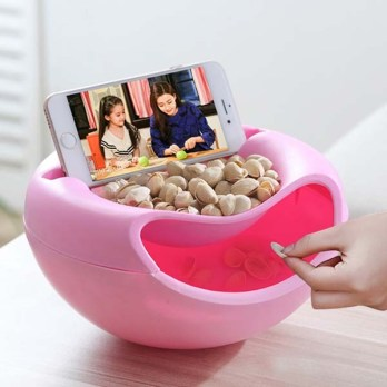 Pista Nut Fruit Platter Serving Bowl With Mobile Phone Holder