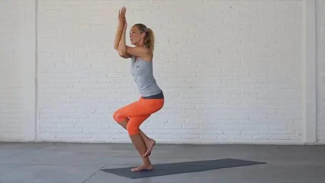 Eagle is an advanced balance pose with internal hip rotation.