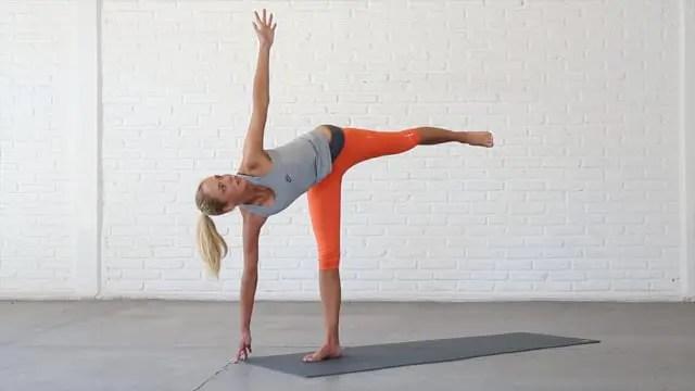 Balancing Half Moon is an advanced balancing hip opener.