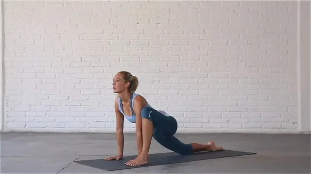 Lizard pose opens up the hips and can help to alleviate lower back pain.