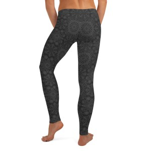 Grey Lotus Mandala Yoga Leggings