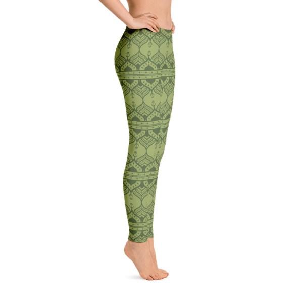 Chartreuse Green Mehndi Yoga Leggings