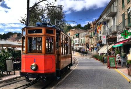 Tram in the streets of Spanish town
