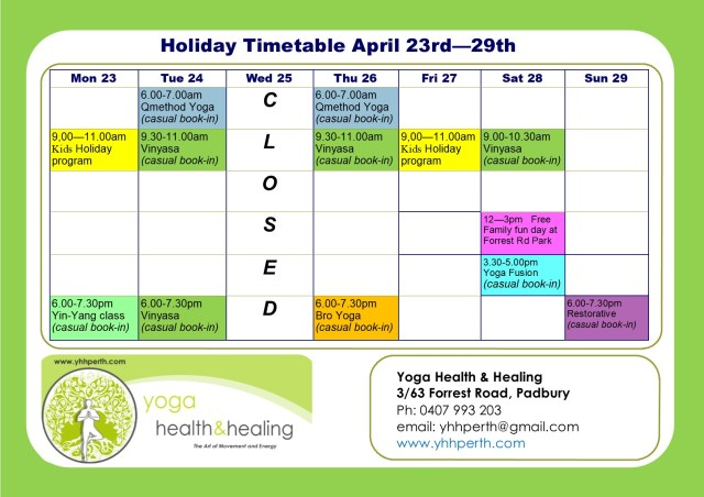 Holiday Timetable April week 2