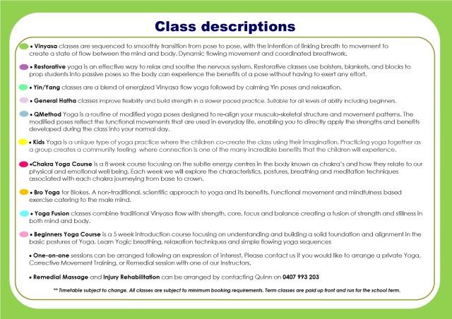 Timetable Term 2 descriptions