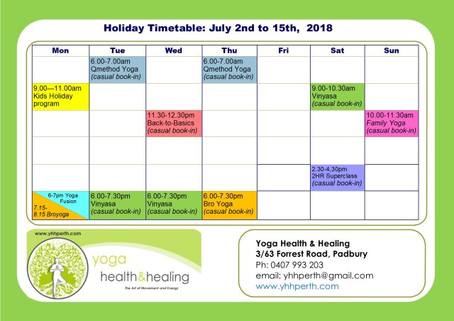 Holiday Timetable Term 2 july