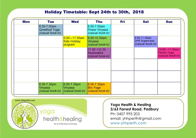 Holiday Timetable Term 3 Sept 2018