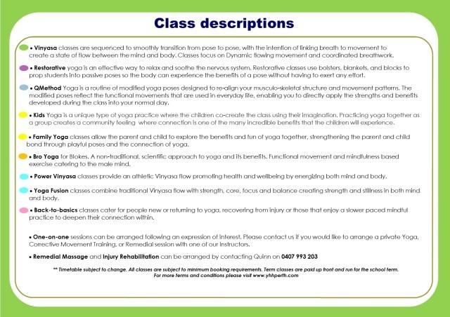 Timetable Term 4 descriptions
