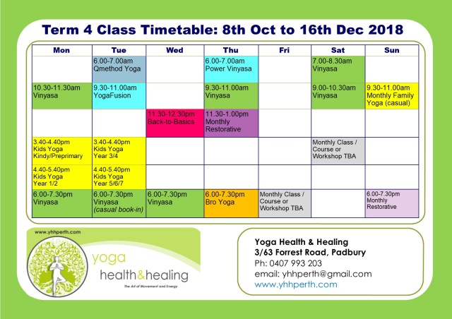 Timetable Term 4