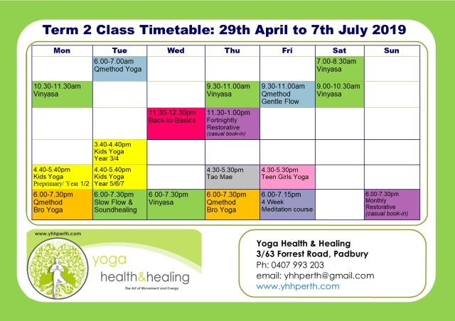 Timetable Term 2 2019