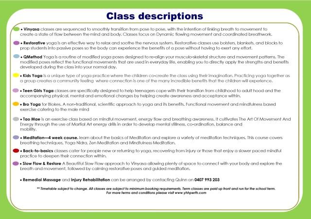 Timetable Term 4 2019 class descriptions