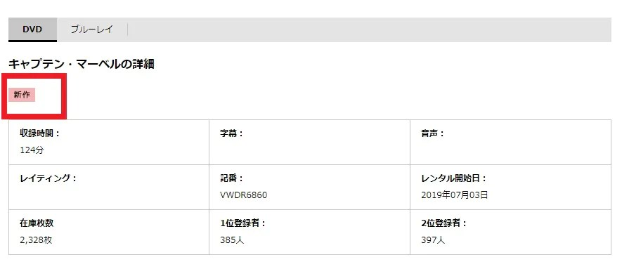 TSUTAYAでの映画「キャプテン・マーベル」DVDレンタル情報