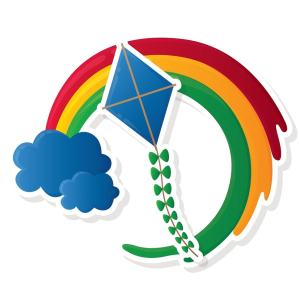 illustration of a kite with a cloud and rainbow
