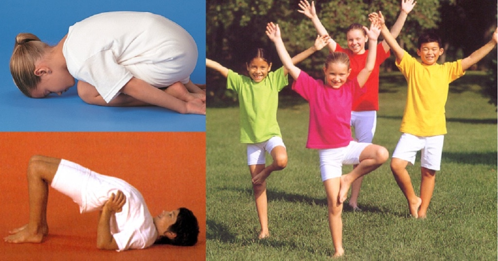 Child in child's pose, children in tree pose and child in bridge pose