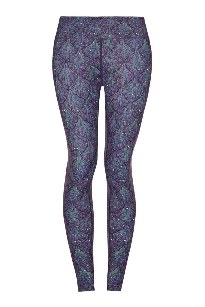 Green_ purple shells Yoga Leggings