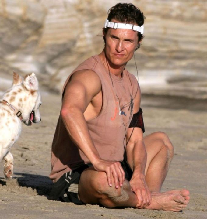 Matthew McConaughey Doing Yoga