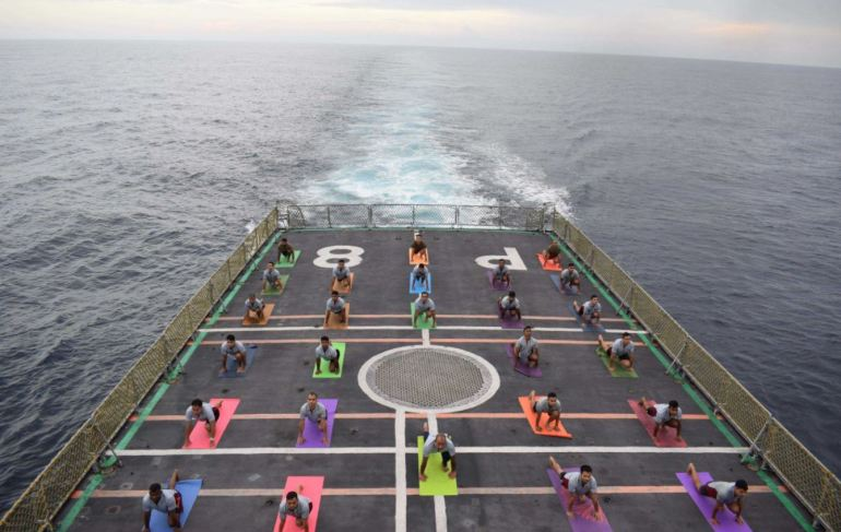Eastern Naval Command Doing Yoga