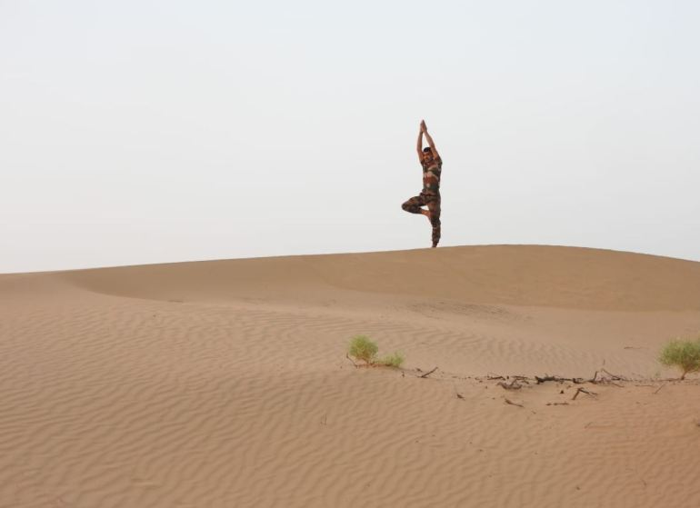 Indian Army Doing Yoga On Desert