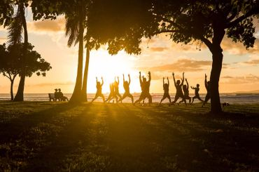 yoga during sunset, sunrise in park