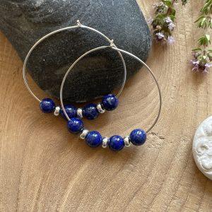 Créoles Lapis-lazuli argent