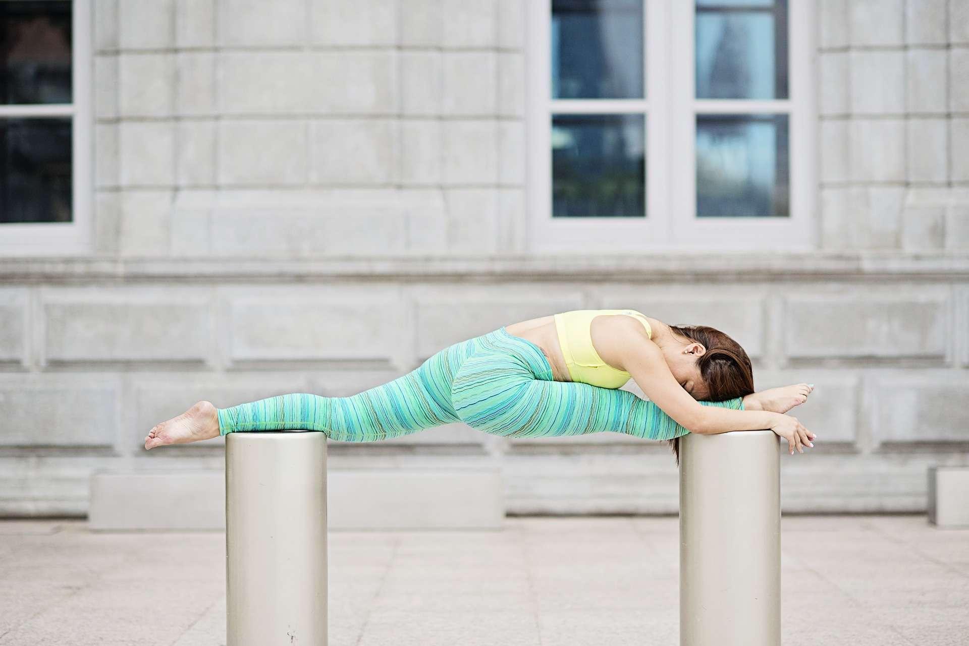 Frau, Yoga, Poller