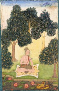 A_yogi_seated_in_a_garden