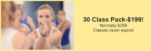 30 Class Pack $199 (normally $299) Classes never expire!