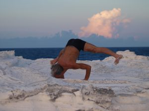 Simon Borg-Olivier coming from handstand to chataranga dandasana (pushup posture)