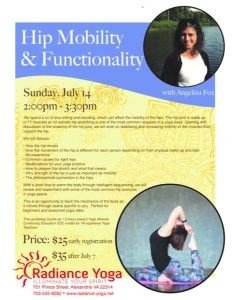 Hip Mobility and Funcionality Workshop with Yoga with Angelina Fox at Radiance Yoga in Alexandria, VA July 14