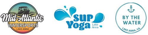 Mid-Atlantic Watersports, SUP Yoga Lake Anna, and By the Water Apparel logos for SUPtacular event