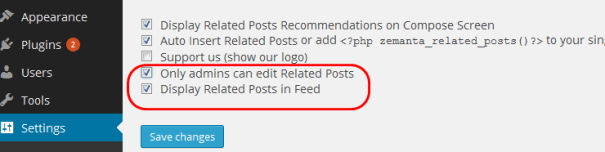 Related Posts Settings