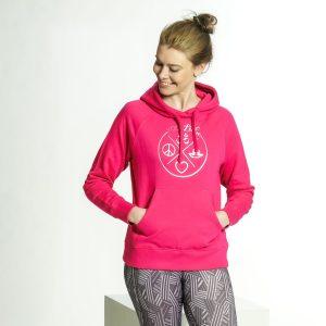 yoga hoodie damen yogiliebe pink bio nachhaltig yogamode