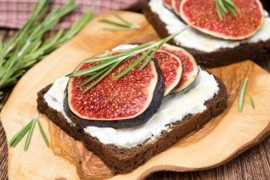 Dark Rye Bread with goat cheese, fresh figs, honey and rosemary