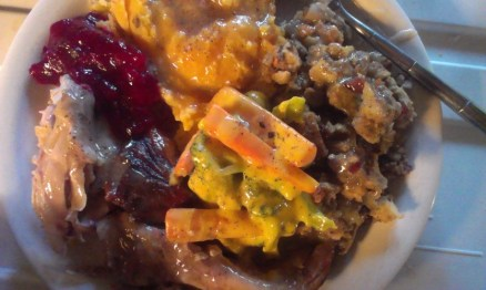 Turkey, sweet potato and russets, cranberry sauce, broccoli and carrot with cheese sauce, cranberry stuffing and gravy.