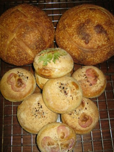 garlic buns and sourdough bread
