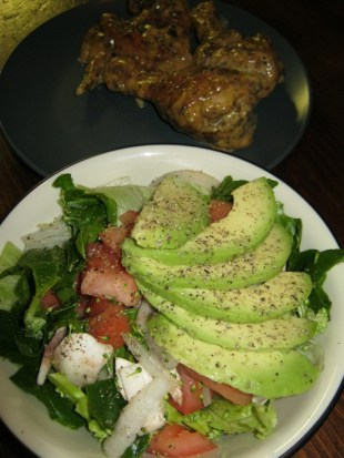 avocado salad and chicken