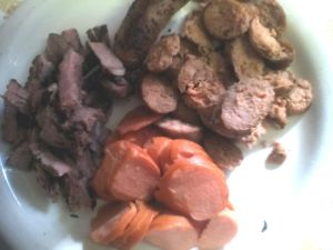steak, italian sausage, and knackwurst