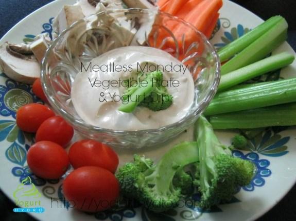 vegetable plate and yogurt dip